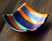 Iridescent Striped Orange and Blues Fused Glass Tiny Dish