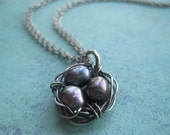 3 Eggs Birds Nest Mothers Necklace With Pearls