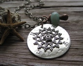 RESERVED Not All Who Wander Are Lost Compass Hand Stamped And Riveted With Chalcedony Stone