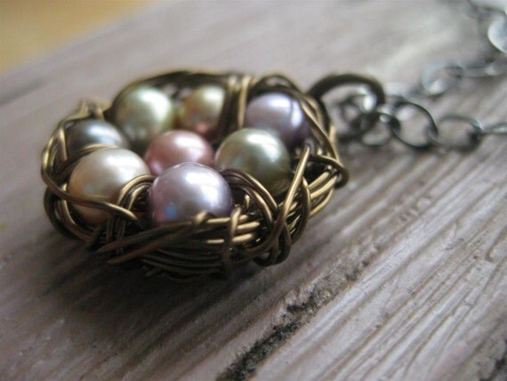 8 Eggs Birds Nest Mothers Necklace With Freshwater Pearl Eggs Quartz And Bird Charm