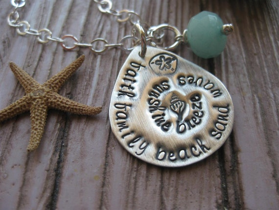 Faith Family BEACH Hand Stamped Whale Charity Necklace With Amazonite Stone