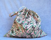 Drawstring PUL bag-  Large ZEBRA  Wet bag or project bag