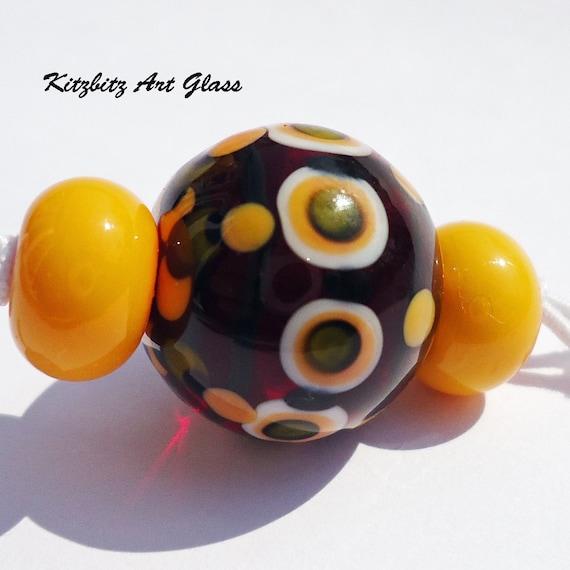 Lampwork focal bead, Passion Fruit