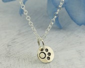 Paw Print Necklace - Les Petites Collection - in sterling silver by Kathryn Riechert
