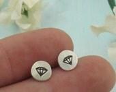 Diamond Earrings - sterling silver studs by Kathryn Riechert
