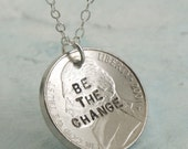 Be The Change Necklace -- sterling silver with a coin by Kathryn Riechert