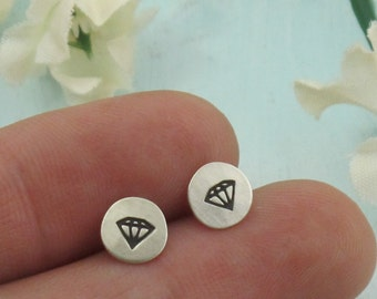 Diamond Earrings, conflict free diamond stud earrings, sterling silver post earrings, small studs, diamond drawing humor by Kathryn Riechert