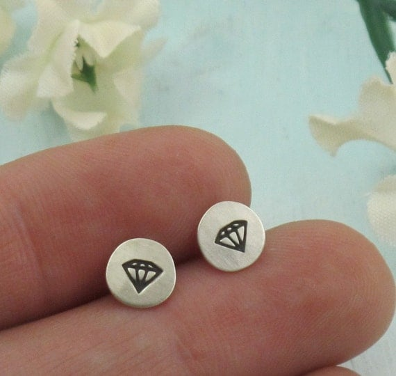 Diamond Earrings - sterling silver studs by Kathryn Riechert