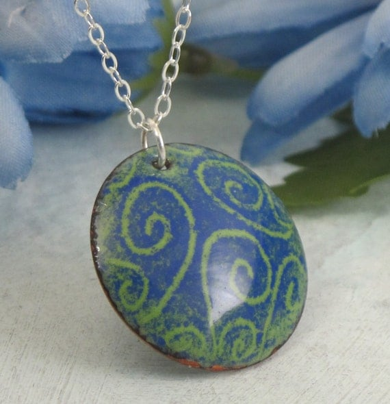 RESERVED Spiral Swirly Necklace - Blue Green - glass enamel over copper with sterling silver chain by Kathryn Riechert
