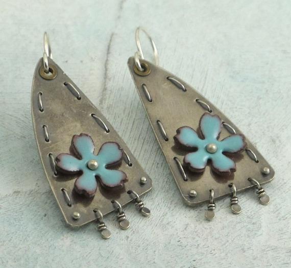Turquoise Flower Earrings - upcycled vintage spoon earrings by Kathryn Riechert