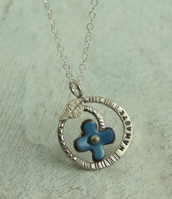 Namaste - Regrowth Necklace with blue flower - in sterling silver with enamel on copper - by Kathryn Riechert