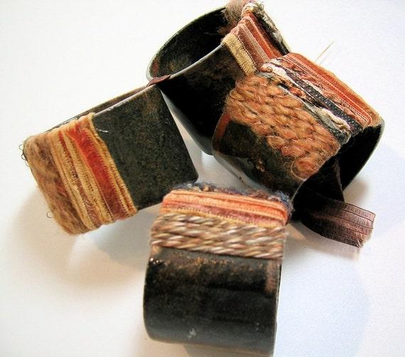 Four Fiber Wrapped Ceramic Napkin Rings