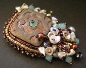 Raku Bead Embroidered Pin