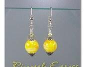 Pineapple Express lampwork bead earrings