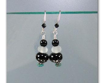 Navajo Springs lampwork bead earrings
