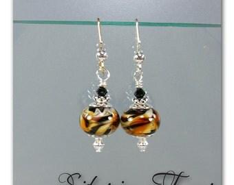 DarleenMB Lampwork, handmade, lampwork bead earrings, Siberian Tiger