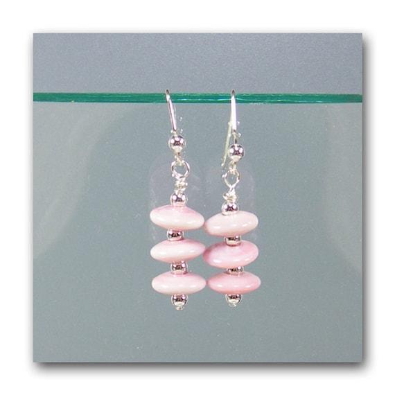 """DarleenMB, SRA, lampwork, disk bead, earrings """"Pink Lanterns"""""""