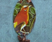 sweet Bird of spring and summer recycled tin necklace