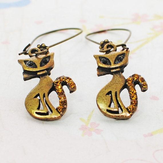 Siamese Double Date Kitty Earrings