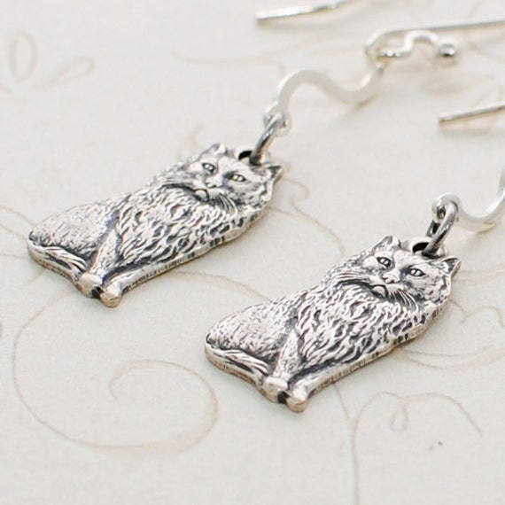 Silver Kitty Cat Earrings Wiggles and Jiggles