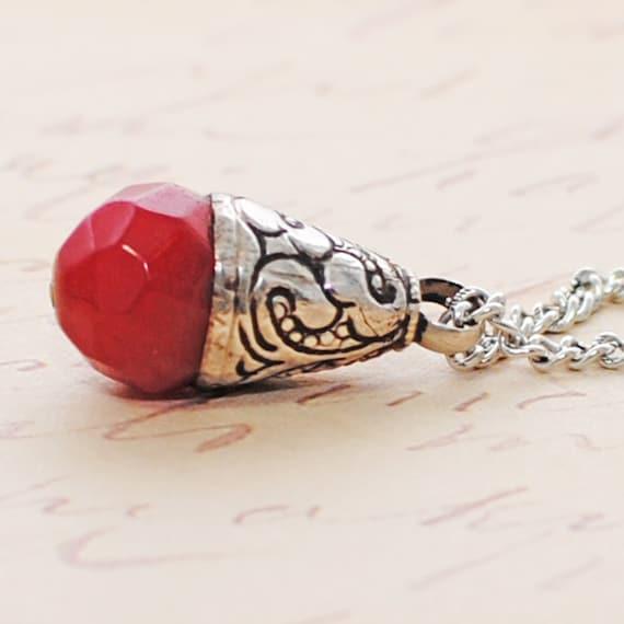 Red Jade Pendant Crimson Tear Silver Necklace