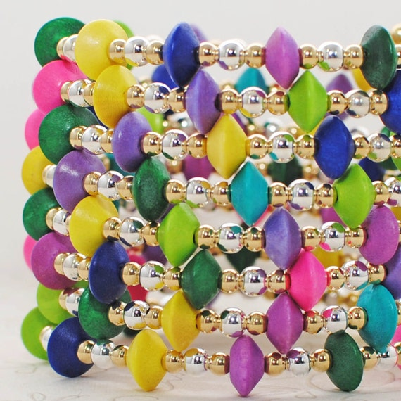 Fluorescent Multicolor Memory Wire Bracelet Vibrant State of Mind