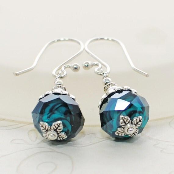 Blue Green Earrings Oceans Deep