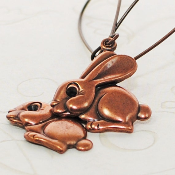 Copper Bunny Rabbit Earrings Desi and Lucy