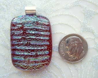 Artisan Made Dichroic Glass Pendant with Sterling Silver Bail