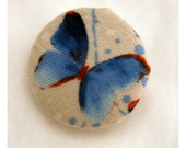Blue Butterfly Fabric Button - Medium Round