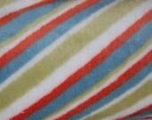 Z Daisy EXCLUSIVE Minky Fabric Green Teal Orange Stripe