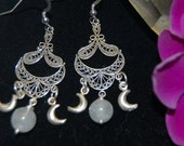 Earrings Triple moon rainbow moonstone pagan goddess earrings - sterling silver