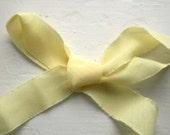 Lemon Yellow Bias Cut Torn Edge Fabric Ribbon- 10 yards