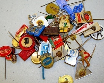 European Food Label Pins- Pkg of 10, Collage Ephemera, Euro Style, Vintage Label Pins
