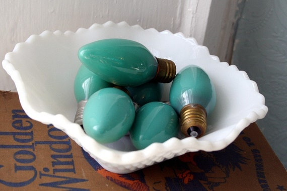 Vintage Seafoam Green Christmas bulbs- Shabby Pretty- Instant Collection-Pkg of 6