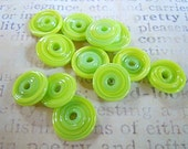 Dirty Dozen Lampwork Disc Beads in Lime