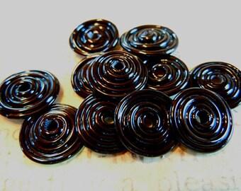 Dirty Dozen Lampwork Disc Beads in Black