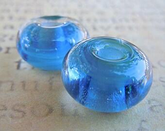 Matched Pair Lampwork Beads in Ocean
