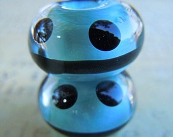 Lampwork Pair in Turquoise and Black