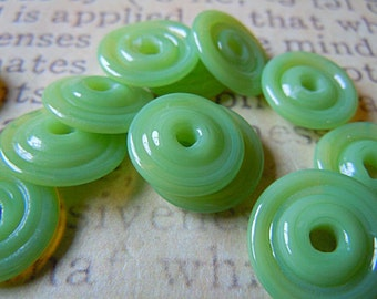 Lampwork Glass Disc Beads in Sprout Green