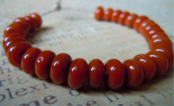 Lampwork Glass Spacer Bead in Burnt Orange