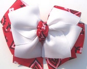 2 White and Red Bandana Hair Bow-RESERVED FOR BRANDYTHOMAS