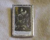 Postage Stamp Brooch - Sherlock Holmes