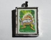 Postage Stamp Pendant - Magic Rainforest - Gnome