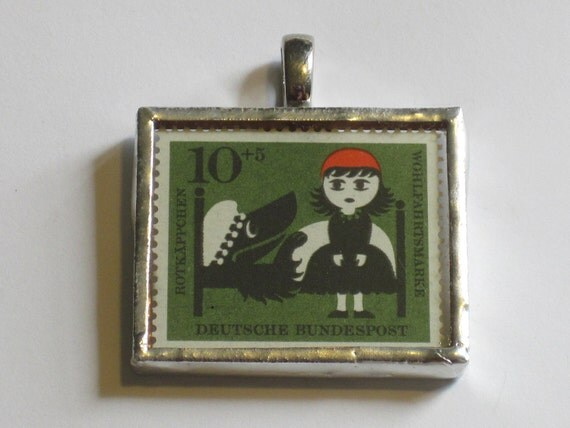 Postage Stamp Pendant - Little Red Riding Hood
