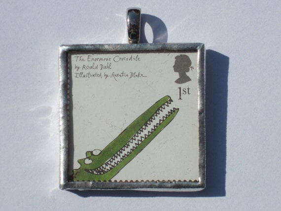 Postage Stamp Pendant - Enormous Crocodile