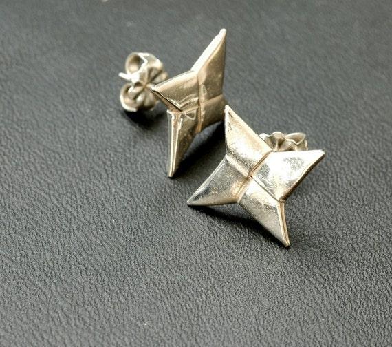 Ninja Throwing Star (Shuriken) Earrings - Fine Silver Origami (Metalgami)