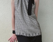 Film Noir silk top in black and white dots