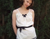 Duchess Grey chemise top in ivory lace with pearls and bow
