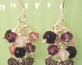 Rose, White Opal, Amethyst Swarovski Crystal, Onyx Cluster Silver Butterfly Earrings